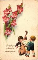 Children Playing Music On A Double Bass And Singing, Signo: Bertiglia, Old Postcard - Bertiglia, A.