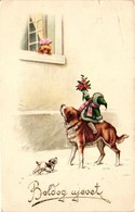 Children, Dogs, Child Riding On A Big Dog, Funny Old Postcard - Dogs