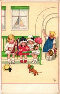 Dogs, Little Brown Dachshund With Children, Signo: LD, Old Postcard - Dogs