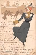 Illustrateur Art Nouveau - AUF DEM EISE. Femme Sur Patins à Glace - Patinage- Voyagée 1899 - Illustrateurs & Photographes