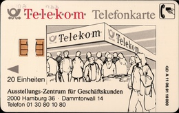 ! Telefonkarte, Telecarte, Early Phonecard, 1991, A11, 06.91, Auflage 16000, 11 Stellige Nr., Telekom Geschäftskunden HH - Germany