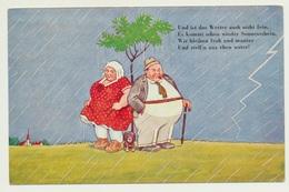 AK  Humor Humour Dicke Menschen Mit Dackel Im Regen - Humour