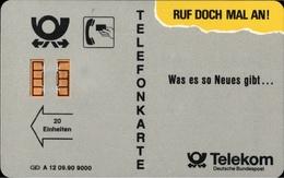 ! Telefonkarte, Telecarte, Phonecard, 1990 G+D , A12, 09.90, Auflage 9000, 11 Stellige Nr., Telekom Helgoland, Germany - Deutschland