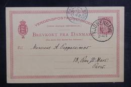 DANEMARK - Entier Postal De Copenhague Pour La France En 1886 - L 38873 - Entiers Postaux