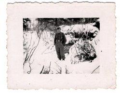 Foto 2. WK - Soldat Stehend Im Wald / Feld Im Winter In Rußland - Fotografie