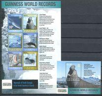 249 GEORGIE DU SUD 2002 - Yvert 338/43 BF 12 - Mammifere Marin Polaire Antartique - Neuf ** (MNH) Sans Charniere - Géorgie Du Sud