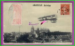 CPA 61 Orne ARGENTAN - AVIATION - Avion Sur La Vue Générale  - Voyagé Oblitéré - Argentan
