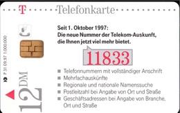 ! Telefonkarte, Telecarte, Phonecard, 1997, P31, Auflage 1000000, Telekom 11833 Die Neue Auskunft, Germany - Deutschland