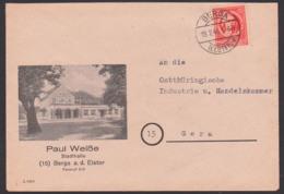 Berga A.d. Elster Schmuckbrief Mit Statthalle, 12 Pfg. Friedrich Schiller SBZ OPD Thüringen 19.2.46, Portogenau - Zone Soviétique