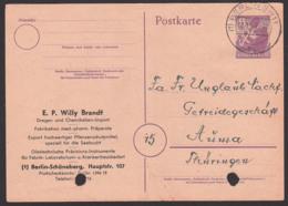 BERLIN SW 11, 6 Pfg. Ganzsache Mit Privatem Zudruck Bln-Schöneberg E.P. Willy Brandt, Aktenlochung Nach Auma Thüringen - Zone Soviétique