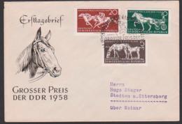 Germany East FDC 640/42 Trabrennen Galopprennen, Horse, Großer Preis Der DDR 1958, Pferd - [6] République Démocratique
