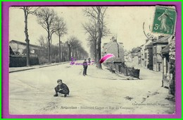 CPA 61 Orne ARGENTAN - 4. Boulevard Carnot Et La Rue Du Croissant - Animé Enfant - Voyagé Oblitéré - Argentan