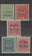 Pologne - 1919 Timb. D' Autriche_ Surch. à  Cracovie  N°75/79 - ....-1919 Übergangsregierung