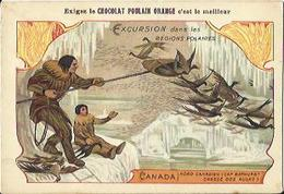 Chromo CHOCOLAT POULAIN ORANGE - CANADA - Nord Canadien - Chasse Des Aulks (n°19). - Poulain