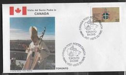 PAPAL VISIT - VISIT DU PAPE - 15.09.1984 - ANNULLO SPECIALE TORONTO - Primi Giorni (FDC)