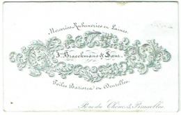 Carte Visite Type Porcelaine. Merceries,Rubaneries. Braeckmans, Bruxelles. Rue Du Chêne. - Visiting Cards