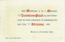 Faire-part Naissance. Troosters-Pieck.  Diest 1887. - Naissance & Baptême