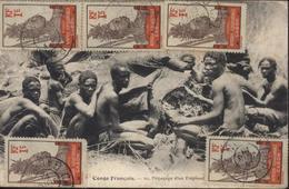 YT Afrique équatoriale Gabon Guerrier  N°33 X5 CPA Congo Français Dépeçage éléphant CAD Cap Lopez Gabon 19 Juin 13 - Gabon (1886-1936)
