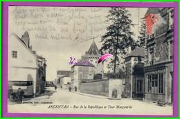 CPA 61 Orne ARGENTAN - Rue De La Republique Et La Tour Marguerite - Très Animé  - écrite Au Dos - Argentan