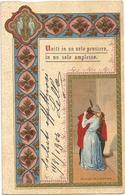 W4273 Coppie Coppia Couple Paar Pareja Pair - Illustrazione Illustration - Uniti In Un Solo Pensiero / Viaggiata 1904 - Coppie