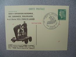 Entier Postal   Type Marianne De Béquet -  Repiquage Locomotive Buddicom 31 Expo. Nationale Des Cheminots Philatélistes - Overprinter Postcards (before 1995)
