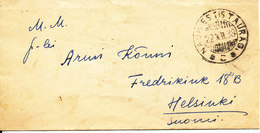 Lithuania Small Cover Sent To Finland 22-12-1938 With The Stamps On The Backside Of The Cover - Lithuania