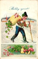 Pigs, Boy Carrying A Little Pig In A Sack, New Year, Old Postcard - Pigs