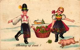 Pigs, Couple With A Pig And A Basket Of Clovers And Mushrooms, New Year, Old Postcard - Pigs