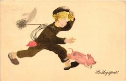 Pigs, Chimney Sweeper Chasing A Little Pig, New Year, Old Postcard - Pigs