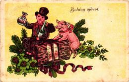 Pigs, Chimney Sweeper With A Pig And An Old Type Radio, New Year, Old Postcard - Pigs