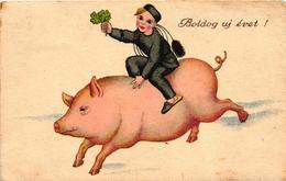 Pigs, Chimney Sweeper Riding On A Big Pig, New Year, Old Postcard - Pigs