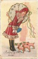 Pigs, Elegant Lady Greets Three Cute Little Pigs, New Year, Old Postcard - Pigs