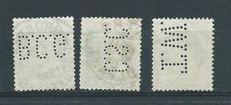 3 Perfins - 3 Timbres Perforés + Lot Timbres à Examiner (3 Scans) - 1909-34