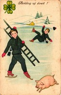 Pigs, Little Pig With Skating Chimney Sweepers, New Year, Old Postcard - Pigs