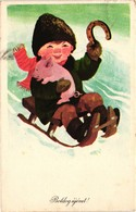 Pigs, Boy With A Little Pig On A Sled, New Year, Old Postcard - Pigs