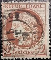 FRANCE Y&T N°51d Cérès 2c Rouge-brun Foncé. Variété Fond Ligné. Oblitéré CàD Bourg-lès-Valence - 1871-1875 Ceres