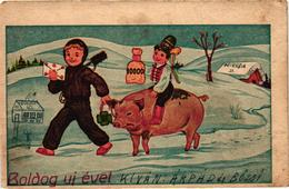 Pigs, Chimney Sweeper, Boy Riding On A Pig With A Coin Bag, New Year, Old Postcard - Pigs