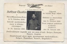 Doodsprentje Arthur Gustin - Anseremme / Wietze (Duitsland) - Gesneuvelde / Soldaat WO1 WW1 - Décès