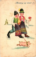 Pigs, Mushroom, Boys Walking With A Little Pig On A Leash, New Year, Old Postcard - Pigs