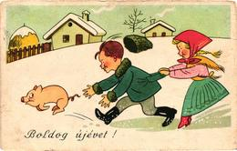 Pigs, Boy And Girl Chasing A Little Pig, New Year, Old Postcard - Pigs