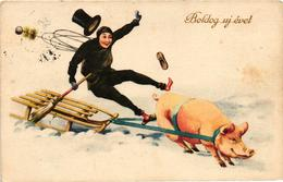 Pigs, Pig Pulling A Chimney Sweeper On A Sled, New Year, Old Postcard - Pigs