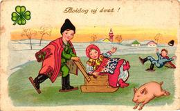 Pigs, Little Pig On The Ice With Skating Children, New Year, Old Postcard - Pigs