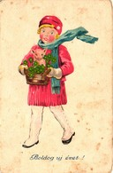 Pigs, Girl Carrying A Little Pig In A Basket, New Year, Old Postcard - Pigs