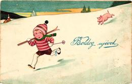 Pigs, Boy Fleeing From A Little Pig, New Year, Funny Old Postcard - Pigs
