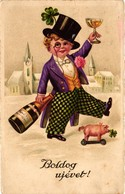 Pigs, Boy Gentleman With A Little Toy Pig And A Champagne, New Year, Old Postcard - Pigs