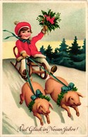 Pigs, Two Little Pigs Pulling A Girl On A Sled, New Year, Old Postcard - Pigs