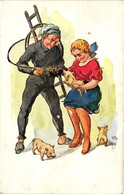 Pigs, Three Little Pigs With A Chimney Sweeper And A Girl, New Year, Old Postcard - Pigs
