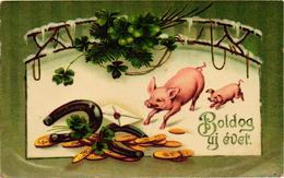 Pigs, Two Little Pigs With Coins, Clovers And Horseshoes, New Year, Old Postcard - Pigs