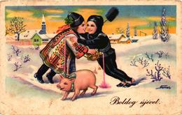Pigs, Pig With A Drinking Chimney Sweeper And Boy, Signo: Nemes, New Year, Old Postcard - Pigs