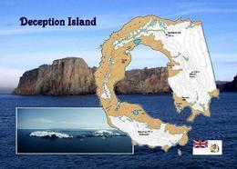 Antarctica Deception Island Map New Postcard Landkarte AK - Sonstige